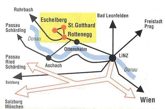 Die Lage von Schloss Eschelberg